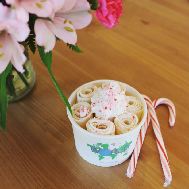 Candy Cane Rolled Ice Cream