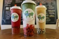 Left to right; Strawberry Fruit Tea, Strawberry Matcha Latte, Black Milk Tea